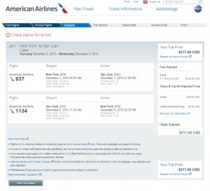 NYC to San Juan, Puerto Rico: American Airlines Booking Page