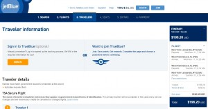 NYC to West Palm Beach: JetBlue Booking Page