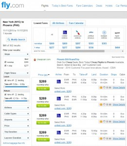 New York City to Phoenix: Fly.com Results