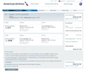 Phoenix to Ft. Lauderdale: AA Booking Page