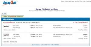 Portland to Las Vegas: CheapOair Booking Page