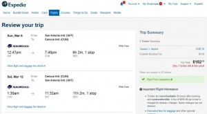 San Antonio-Cancun: Expedia Booking Page