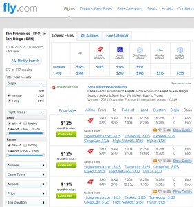 San Francisco to San Diego: Fly.com Results
