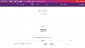 San Francisco to San Diego: Virgin America Booking Page