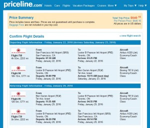 San Francisco to Tel Aviv: Priceline Booking Page