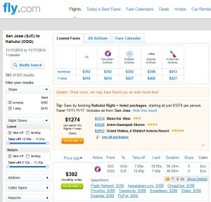 San Jose to Maui: Fly.com Results