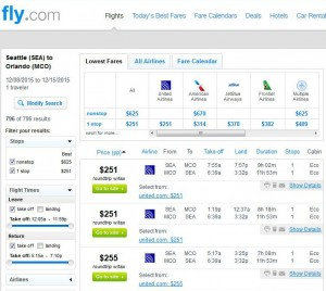 Seattle-Orlando: Fly.com Search Results
