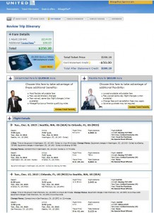 Seattle-Orlando: United Airlines Booking Page