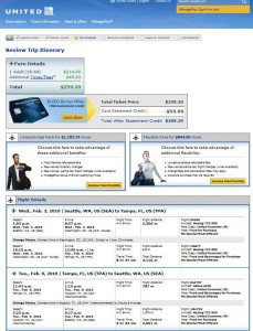 Seattle-Tampa: United Airlines Booking Page