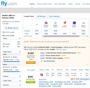 Seattle to Maui: Fly.com Results