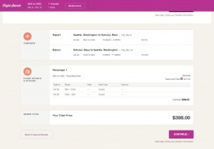 Seattle to Maui: Hawaiian Booking Page