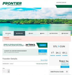 St. Louis-Cancun: Frontier Airlines Booking Page