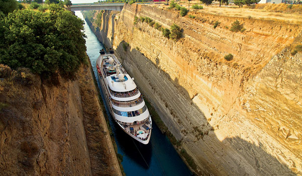 Star Breeze Passing the Corinth Canal (Windstar Cruises)