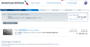 New Orleans to D.C.: American Airlines Booking Page