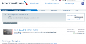 Philly to Punta Cana: American Airlines Booking Page