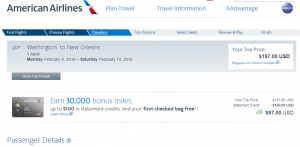 D.C. to New Orleans: American Airlines Booking Page