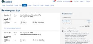 Atlanta to LA: Expedia Booking Page