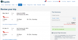 NYC to SF: Expedia Booking Page