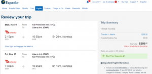 SF to NYC: Expedia Booking Page