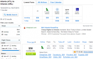 Atlanta to Orlando: Fly.com Results Page