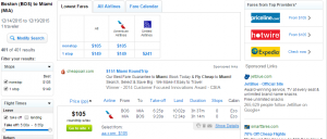 Boston to Miami: Fly.com Results Page