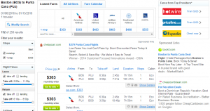Boston to Punta Cana: Fly.com Results Page