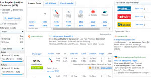 LA to Vancouver: Fly.com Results Page