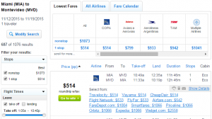 Miami to Montevideo: Fly.com Booking Page