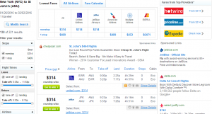 NYC to St John's: Fly.com Results Page