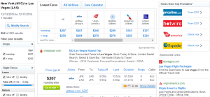 NYC to Vegas: Fly.com Results Page