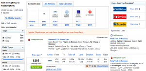 NYC to Nassau: Fly.com Results Page