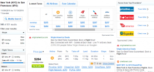 NYC to SF: Fly.com Results Page