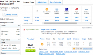 NYC to San Francisco: Fly.com Results Page