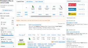 Philly to Cancun: Fly.com Results Page