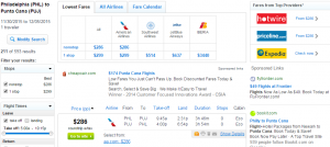Philly to Punta Cana: Fly.com Results Page