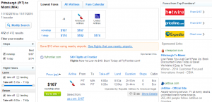 Pitt to Miami: Fly.com Results Page