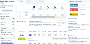 Seattle to Tampa: Fly.com Results Page