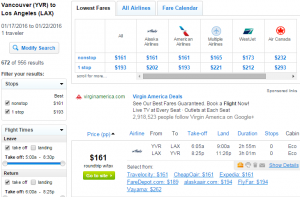 Vancouver to LA: Fly.com Results Page