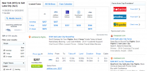 NYC to Salt Lake City: Fly.com Results Page