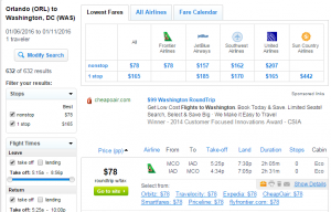 Orlando to D.C.: Fly.com Results Page