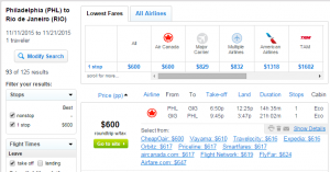 Philly to Rio: Fly.com Results Page