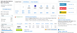 Salt Lake City to NYC: Fly.com Results Page