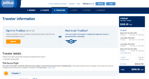 NYC to Vegas: JetBlue Booking Page