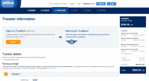 NYC to Nassau: JetBlue Booking Page