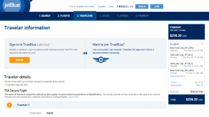 NYC to Salt Lake City: JetBlue Booking Page