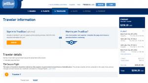 NYC to Salt Lake City: JetBlue Booking Page