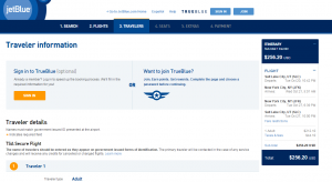 Salt Lake City to NYC: JetBlue Booking Page