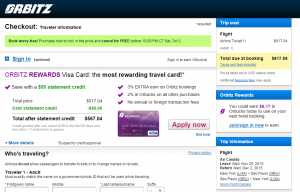 NYC to Sao Paulo: Orbitz Booking Page