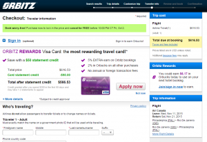 Philly to Rio: Orbitz Booking Page