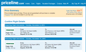 Vegas to SF: Priceline Booking Page